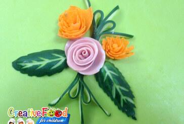 decorazione del piatto verdure e mortadella